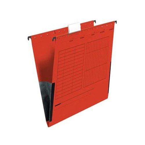 25x Rote Hängetasche m. Leinenfrösche A4, Rot, seitlich geschlossen, mit Sichtreiter, Organisationsaufdruck, Hängemappe, Hängeregistraturen