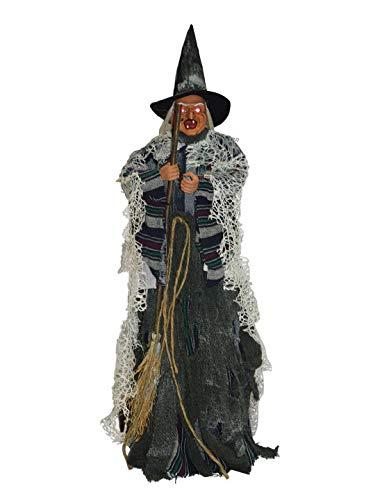 ween Dekoration Deko Hexe Zauberin mit Besen Licht Geräusch und Bewegung, 80cm, Witch with Light Sound and Movement, ideal für Jede Halloween Party / Feier, Schwarz ()