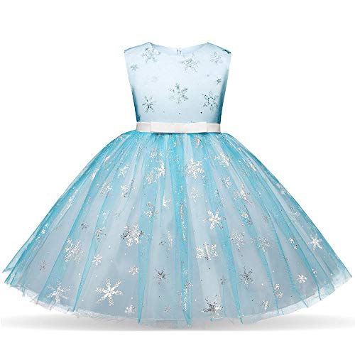 BaZhaHei Weihnachten Kleid Kinder Baby Mädchen Print Outfits Weihnachten Lace formelle Kleidung Party Spitze Tütü Kleid Mädchen Retro lang Sommer Dress Ärmellos Prinzessin ()