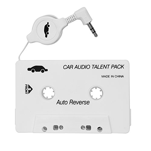 ZJEGO Car Audio Cassette Adapter for iPhone iPad iPod MP3 Player Retractable Cable White