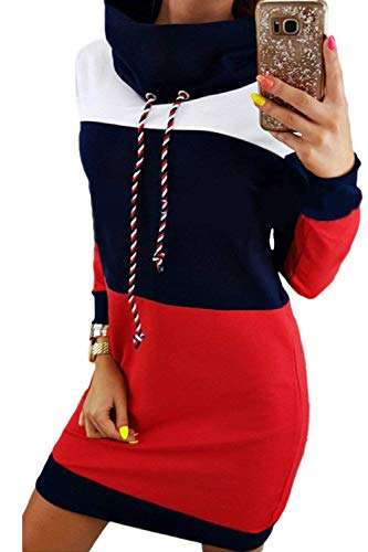 Frauen Rollkragenpullover Colorblock Patchwork Pullover Kleid Sweatshirt Slim Langarm Kapuzenpullover Hoodies 20er Jahre Winter (Color : Blau, Size : M) - Colorblock-pullover-kleid