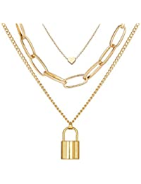 Jewels Galaxy Gold Plated Trending Lock Inspired Layered Necklace Set