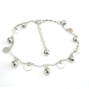 Boowhol Unisex Verstellbar Fußkettchen Fußkette Armbänder Armkette mit Anhänger Herz Glocke aus 925 Sterling Silber
