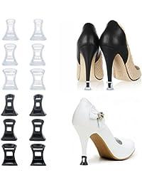 Salva Tacones, Meersee 6 Pares Antideslizante Protectores Talón de Zapatos de Tacón Alto Salvatacones boda Transparente y Negro