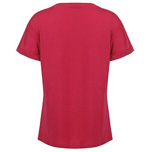 Meaneor Tshirt Top Tshirt Femme Manches Courts Col V Modèle Casual Couleur Pure décoration à fines rayures au col Rouge