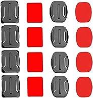 solawill Attacchi Adesivi Piatti , Casco Supporti Adesivi 4 pezzi piatti e 4 curvi con adesivo 3M compatibile
