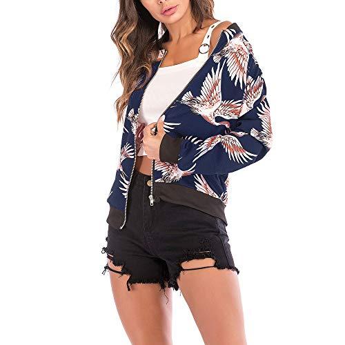Das Erntedankfest Freizeitjacke,Mosstars Damen Vogel Print Bluse Fashion Baseball Mantel Zipper Jacke Camouflage Sportswear Laufjacke...
