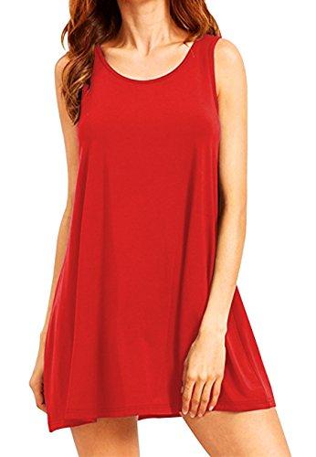 OMZIN Damen T-Shirtkleid Ohne Arm Vest Kleid Rund Ausschnitt Tägershirt Rot L