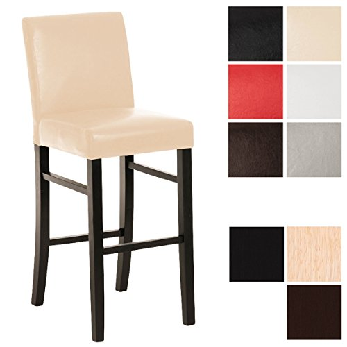 CLP Sedia da bar in legno ALVIN con seduta in similpelle, altezza seduta 75 cm, scelta dei colori della struttura e della seduta nero_crema