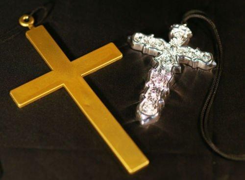 Mönch-Nonne-Ozzy Osbourne-Madonna-80 KUNSTSTOFF-KREUZ Erhältlich in Gold oder Silber - Tolles Kostüm Kleid Zubehör - (Kostüm Ozzy Zubehör Osbourne)