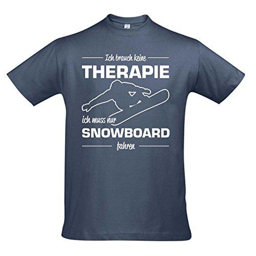 T-Shirt - Therapie - Snowboard - Sport FUN KULT SHIRTS S-XXL , Denim - weiß , M (S/s Shirt Denim)