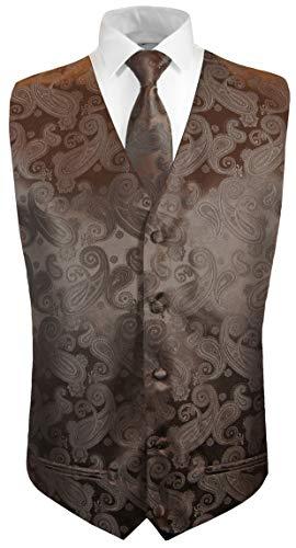 Paul Malone Hochzeitsweste + Krawatte braun Paisley - Bräutigam Hochzeit Herren Weste (Hochzeit Weste Braun)
