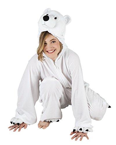 Confettery - Damen Motto-Party Karneval Kostüm Polarbär Set, Onesie, Komplett-Jumpsuit Eisbär, One Size, (Funky Katze Erwachsene Kostüme)