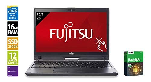 Fujitsu LifeBook T937 | Notebook | Laptop | 13,3 Zoll | Intel Core i7-7600U @ 2,8 GHz | 16GB DDR4 RAM | 250GB SSD | Windows 10 Pro | Inkl. Dockingstation (Zertifiziert und Generalüberholt) 2.8 Ghz Notebook