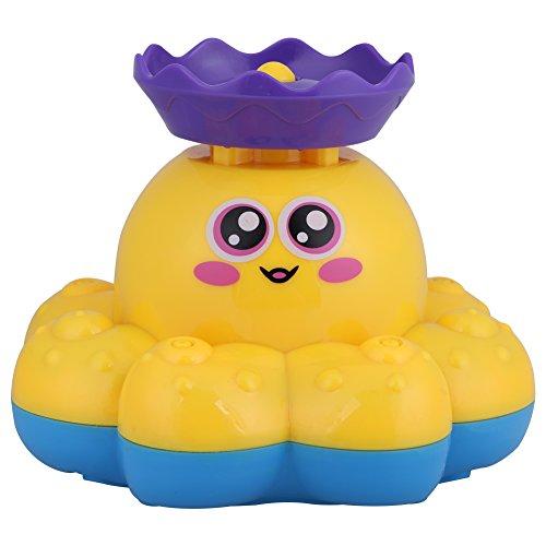 Zerodis Badewannenspielzeug Baby Bad Dusche Krake Wasserspielzeug Rotierenden Brunnen Wasserspritz für Kinderkind Babys (Gelb) Marine Batterie-spezifikationen
