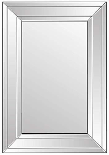 MirrorOutlet Espejo Veneciano Biselado Moderno, Color Negro y Plateado