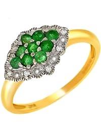Bague - 181R0914 - 11/9AM - P - Anillo de mujer de oro amarillo (9k) con esmeraldas y diamantes