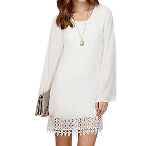 Vestido de manga larga de gasa de las mujeres de oto?o vestido Vestido de manga larga de dobladillo de borla de ganchillo hueco de encaje