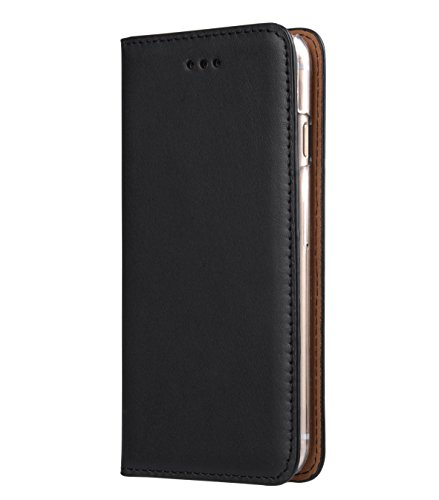 Apple Iphone 7 Melkco Cuir de vachette Premium Herman Series Housse de style livre avec cuir de qualité supérieure Fabriqué à la main Bonne protection, Premium Feel-Orange Brown Black