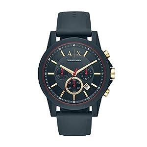 Armani Exchange Herren Analog Quarz Uhr mit Silikon Armband AX1335