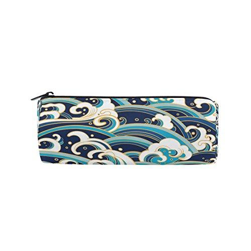 miloha Traditionelle Blue Ocean Wave Bleistift Stift-Tasche, Student Office College Tasche für die Mitte Schule High School Große Halterung Box Organizer