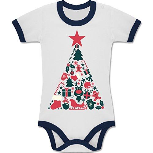 en Baby - Weihnachtsbaum Collage - 12-18 Monate - Weiß/Navy Blau - BZ19 - Zweifarbiger Baby Strampler für Jungen und Mädchen (Ugly Christmas Sweater Ideen)