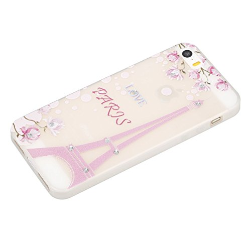 Etsue Silikon Bing Hülle für iPhone SE/iPhone 5S Night Luminous Glow TPU Case, Glitzer Sparkles Diamant Strass Bunte Blumen Schmetterling Mädchen Silikon Schutzhülle Weich Rückseite Cover Transparent  Eiffelturm Rosa Blumen