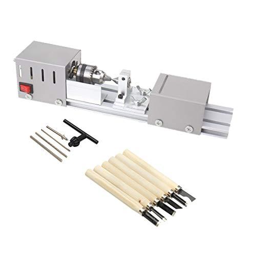 perfk 24V Holzdrehmaschine Mini Drehmaschine Holzbearbeitung DIY Drehmaschine Set Miniatur