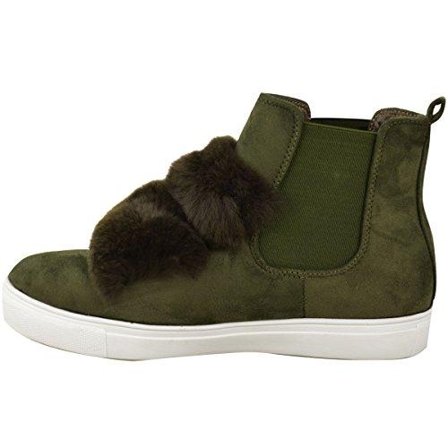 Damen Flach Anziehen Knöchel Chelsea Stiefel Turnschuhe Pelz Flauschig Sneakers Größe Khaki Grün Kunstwildleder