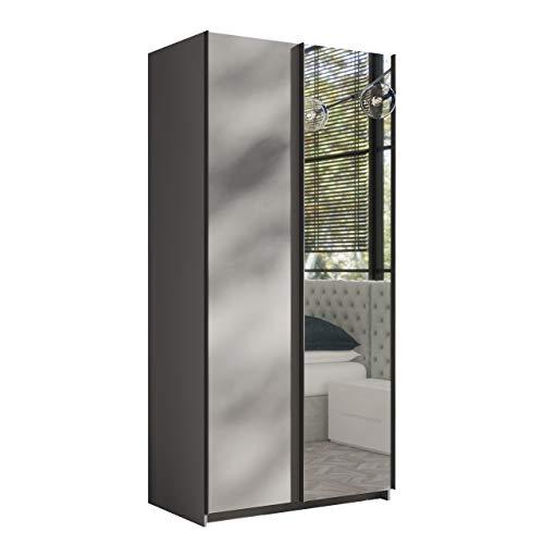 Mirjan24  Kleiderschrank Rick 100, Elegantes Schlafzimmerschrank mit Spiegel, 100 x 216 x 64 cm, Top-Qualität Praktischer Schwebetürenschrank, Schlafzimmer, Schiebetür, viel Stauraum (Grau) - Laguna-schlafzimmer-möbel