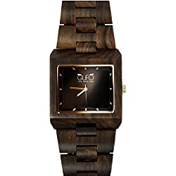 Dunkles Holz Uhr Schwarz Stein Italien Eule