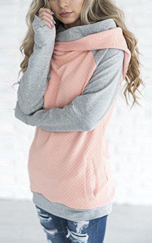 ECOWISH Damen Kontrastfarbe Pulli Pullover Rollkragen Sweatshirt Kapuzenpulli Top Hoodies Rosa M - 3