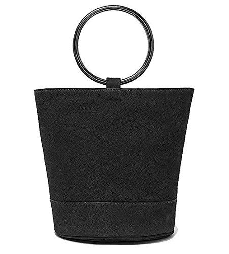 Xinmaoyuan Borse donna colore solido Lady Pelle Metal ring vacchetta aprire la benna Bag,blu scuro Nero