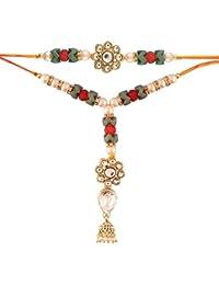 I Jewels Gold Plated Kundan and Jhumki Style Bhaiya Bhabhi Rakhi Set (R613CO)
