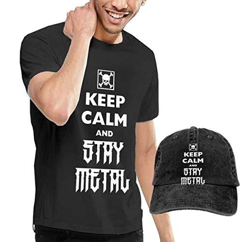 Baostic Herren Kurzarmshirt Keep Calm Stay Metal Fashion Men's T-Shirt Hats Youth & Adult T-Shirts (80's Metal Kostüm)