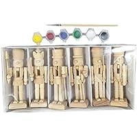 6PCS Bricolaje Cascanueces Marioneta Embrión Blanco de Títere Soldado Regalos de Juguetes de Navidad Adornos de Madera