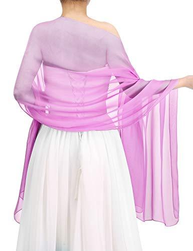 bbonlinedress Schal Chiffon Stola Scarves in verschiedenen Farben Rose 200cmX75cm -