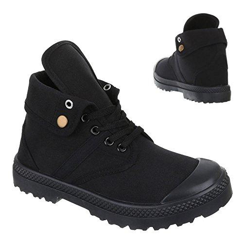 Damen Schuhe, AC-13, FREIZEITSCHUHE SCHNÜR BOOTS Schwarz