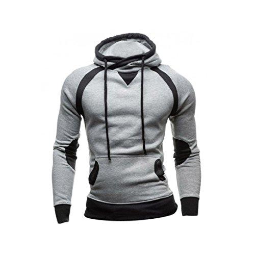 Sweatshirt Homme , Amlaiworld Hiver Sweat à capuche Slim Pull à capuche chaud Tops d'usure Manteau à capuchon (XL, Gris)
