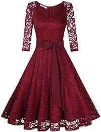 KOJOOIN Damen Brautjungfernkleid für Hochzeit Abendkleider Elegant Spitzenkleid Knielang Cocktailkleid(Verpackung MEHRWEG)