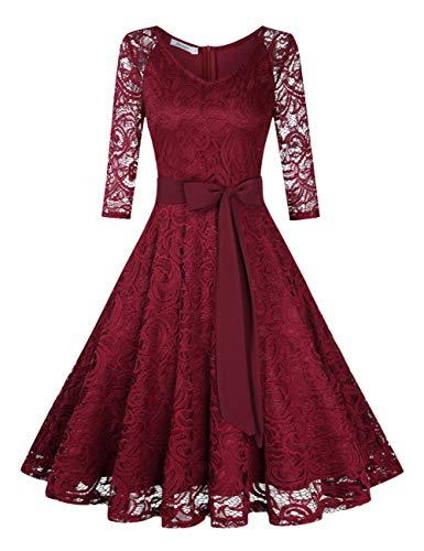 KOJOOIN Damen Vintage Kleid Brautjungfernkleid Knielang Langarm Spitzenkleid Cocktailkleid Bordeaux Weinrot XS