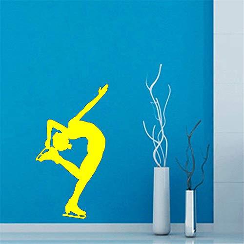 Fitnesstraining Wandaufkleber Frau Eisläufer Wandtattoo Abnehmbare Vinyltapete Für Home Art Dekoration 31 * 59 cm