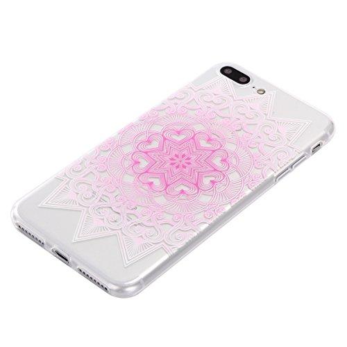 Qiaogle Téléphone Coque - Soft TPU Silicone Housse Coque Etui Case Cover pour Apple iPhone 7 (4.7 Pouce) - DD05 / Mandala Leaves Fleur DD20 / Pink fleur
