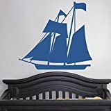 """Sail Boat - Decal Wall Vinyl Sticker Family Kids Room Nautical Mural Sky Map North South East West Travel Land Sea Sailing Ship Love 24"""" X 22"""""""