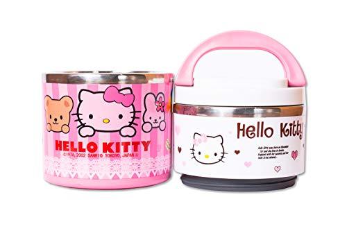 Hello Kitty Kinder Lunchbox Kids Charakter Indian Tiffin Box Style, Thermo-Isolierter Mini Hot Pot, tolle Lunchbox für Schule und Picknicks 2 Ablagefächer