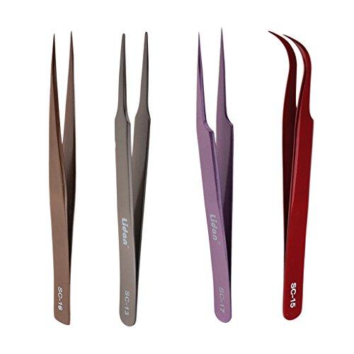 Sharplace Kit 4pcs Pince à Epiler Antistatique de Précision en Acier Inoxydable à Extension de Cils Pincette à Faux Cils
