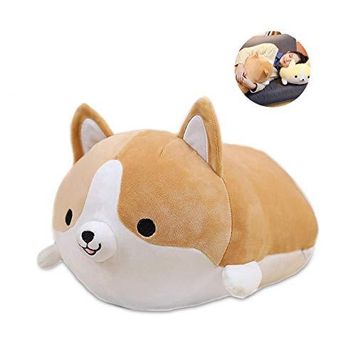 KOBWA Nette Corgi Plüsch Kissen Weiche Tierförmige Puppe Kreative Vent Spielzeug Lustige Hund Gefüllte Welpen für Baby Schlafen Wohnkultur, Hellbraun -