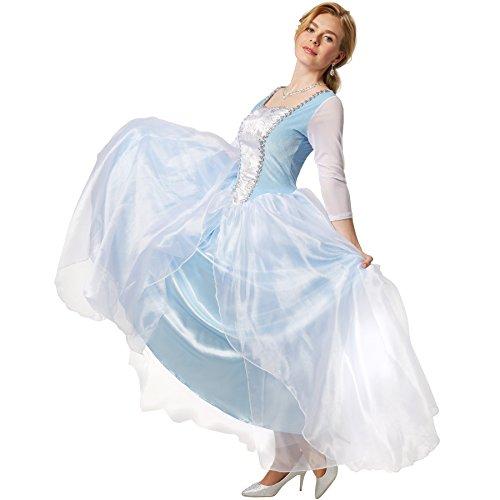 Frauen Cinderella Kostüm - dressforfun Edles Prinzessinnenkleid Cinderella | Ballkleid aus glänzendem Stoff und Überrock aus Tüll (XL | no. 301886)