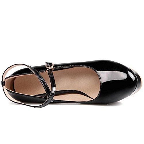 TAOFFEN Femmes Chaussures Confortable Bloc Talons Hauts A Enfiler Plateforme Escarpins De Boucle Noir