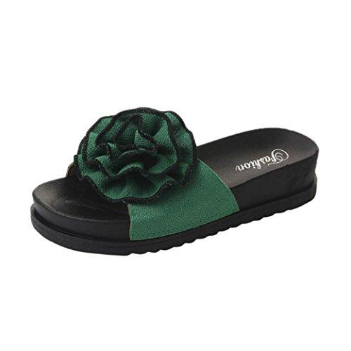 Süße Blumen Hausschuhe Damen,❤️DoraMe Frauen Plattform Pantoletten Sommer Strandschuhe Mode Neue Flache Schuhe Casual Keil Slipper Bequeme Clogs PU Solide Gladiator (EU:38/CN:39, Grün)